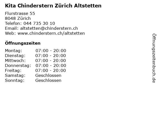 Kita Chinderstern Zürich Altstetten in Zürich: Adresse und Öffnungszeiten