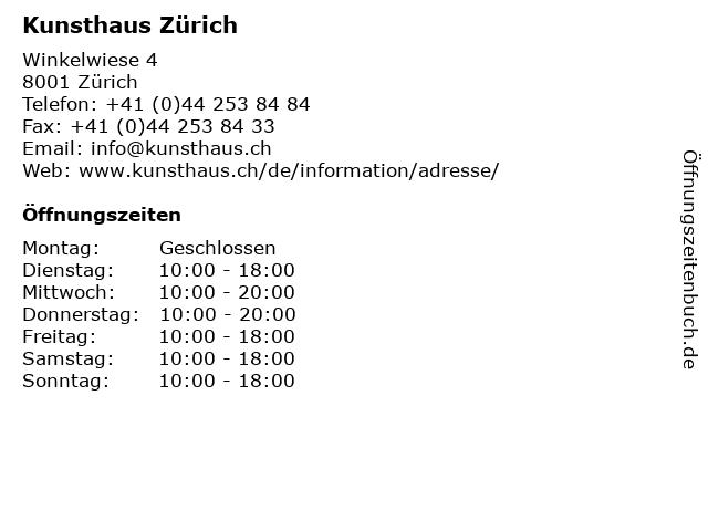 Kunsthaus Zürich in Zürich: Adresse und Öffnungszeiten