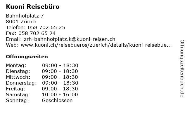 Kuoni Reissebüro in Zürich: Adresse und Öffnungszeiten