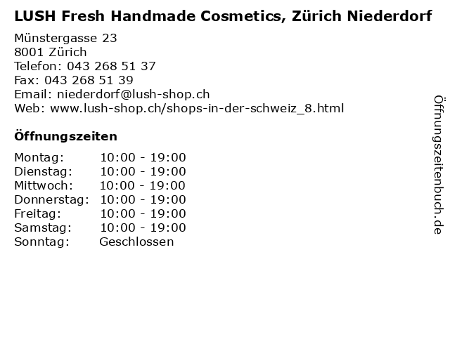 LUSH Fresh Handmade Cosmetics, Zürich Niederdorf in Zürich: Adresse und Öffnungszeiten