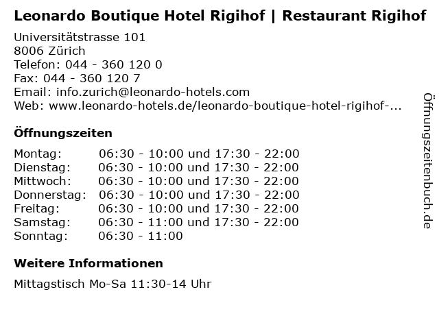 Leonardo Boutique Hotel Rigihof | Restaurant Rigihof in Zürich: Adresse und Öffnungszeiten