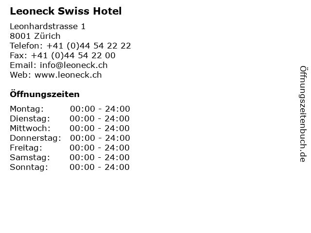 Leoneck Swiss Hotel in Zürich: Adresse und Öffnungszeiten