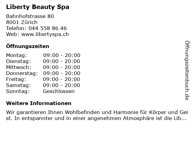 Liberty Beauty Spa in Zürich: Adresse und Öffnungszeiten