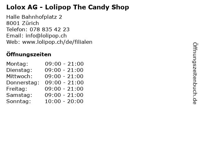 Lolox AG - Lolipop The Candy Shop in Zürich: Adresse und Öffnungszeiten
