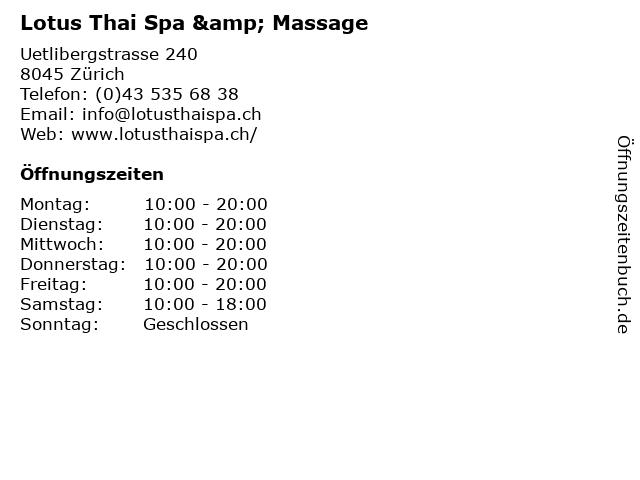 Lotus Thai Spa & Massage in Zürich: Adresse und Öffnungszeiten