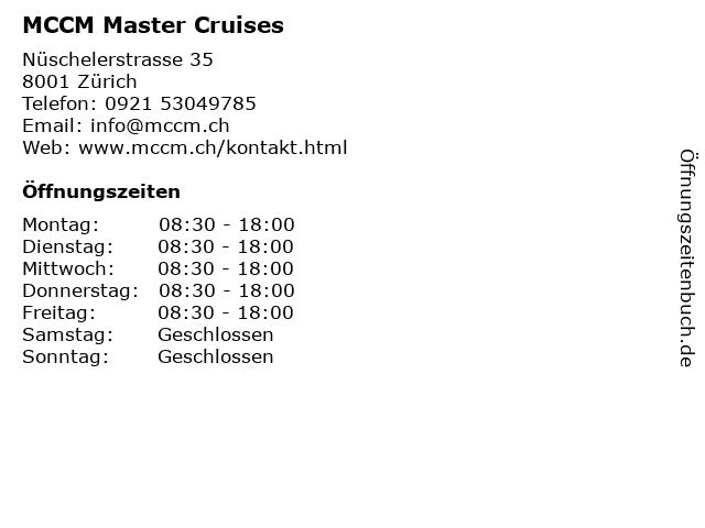 MCCM Master Cruises in Zürich: Adresse und Öffnungszeiten