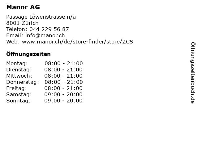 Manor AG in Zürich: Adresse und Öffnungszeiten