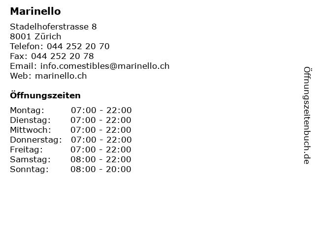 Marinello in Zürich: Adresse und Öffnungszeiten