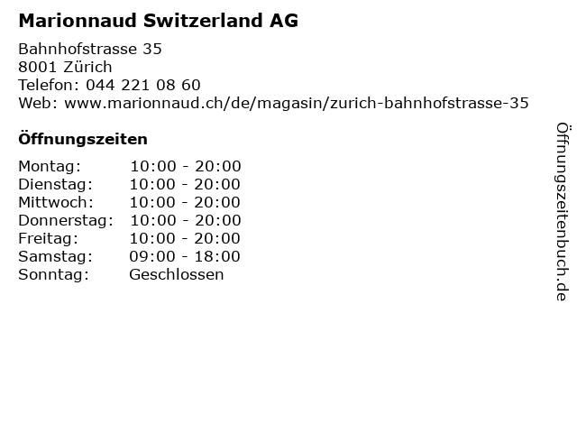 Marionnaud Switzerland AG in Zürich: Adresse und Öffnungszeiten