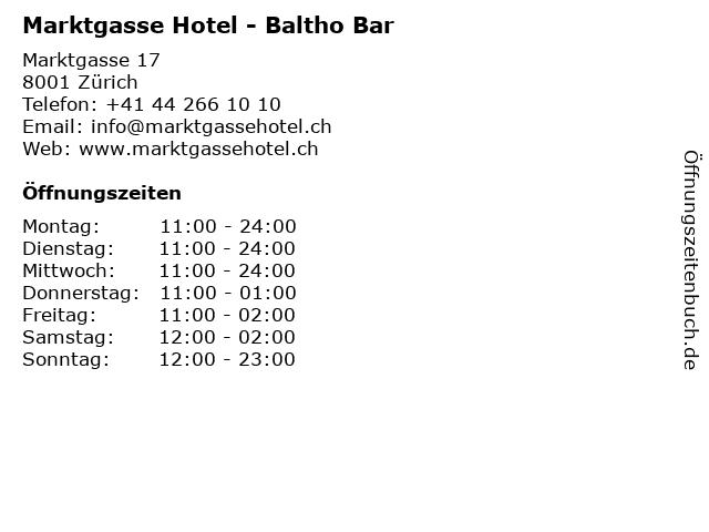 Marktgasse Hotel - Baltho Bar in Zürich: Adresse und Öffnungszeiten