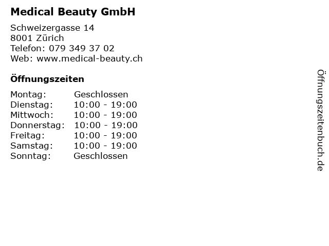 Medical Beauty GmbH in Zürich: Adresse und Öffnungszeiten