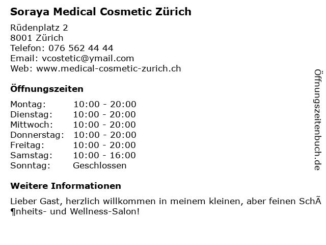 Medizinische Kosmetik Zürich in Zürich: Adresse und Öffnungszeiten