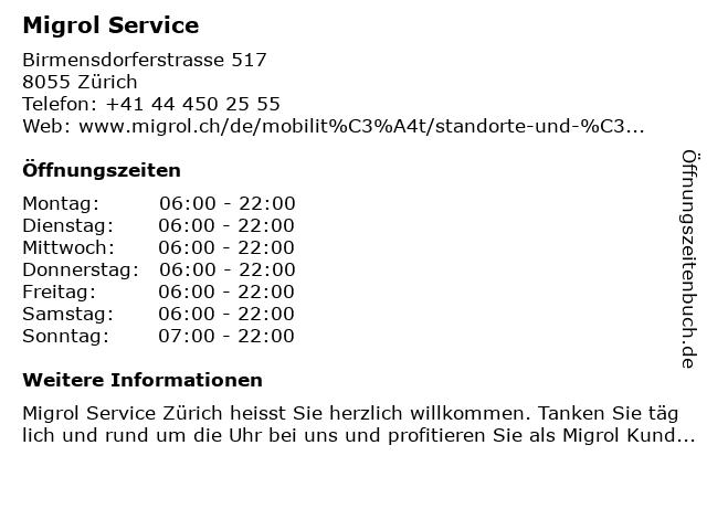 Migrol Service in Zürich: Adresse und Öffnungszeiten