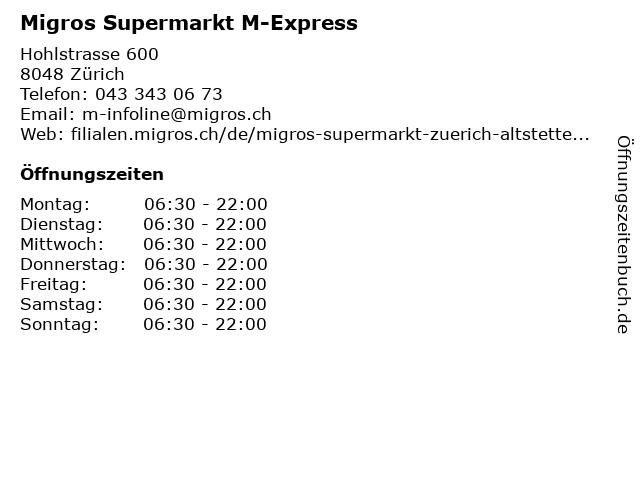 Migros Supermarkt Zürich-Altstetten M-Express in Zürich: Adresse und Öffnungszeiten