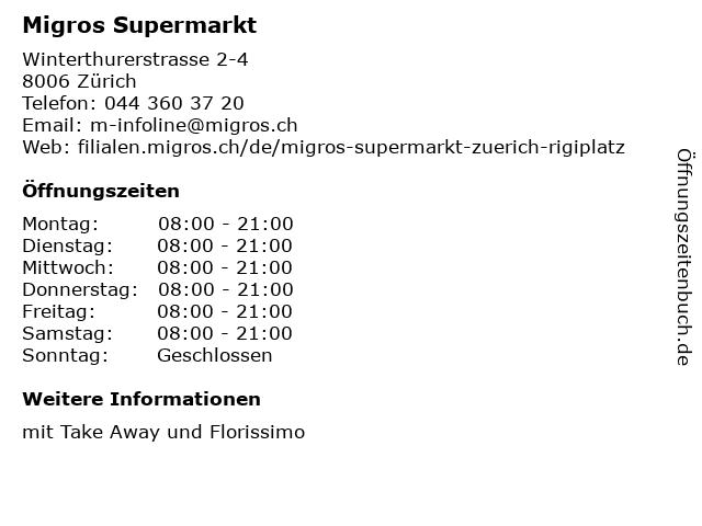 Migros Supermarkt in Zürich: Adresse und Öffnungszeiten