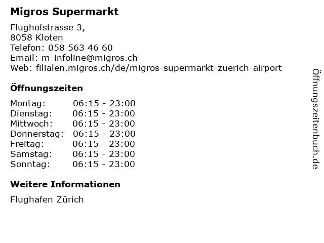 Migros-Supermarkt - Flughafen Zürich in Zürich: Adresse und Öffnungszeiten