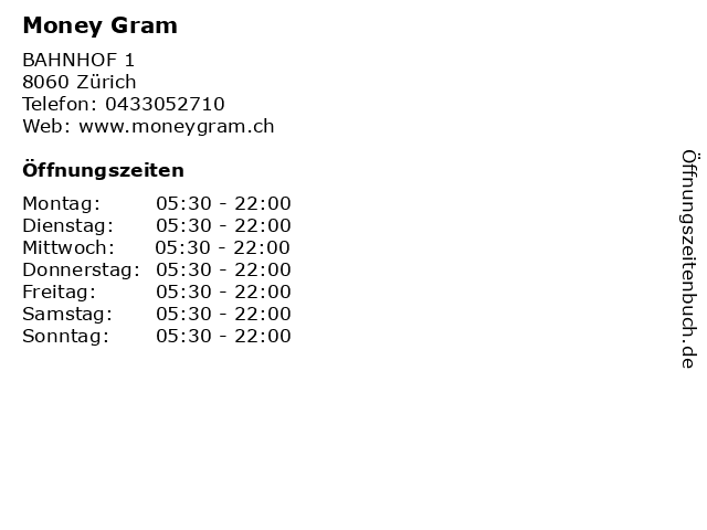 Money Gram in Zürich: Adresse und Öffnungszeiten