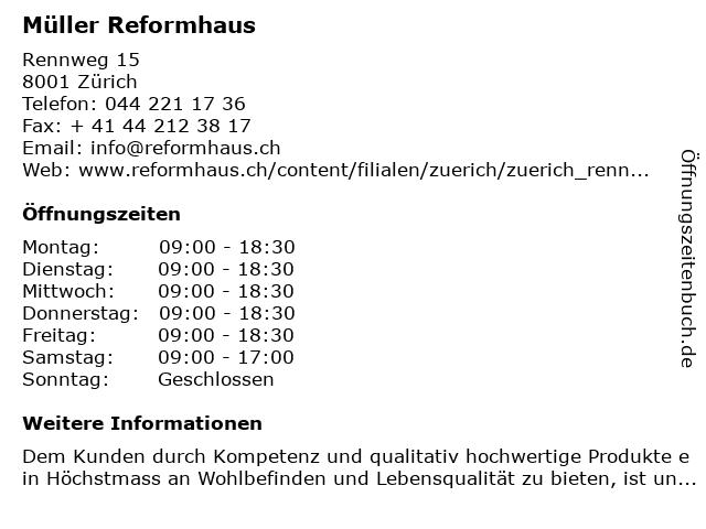 Müller Reformhaus in Zürich: Adresse und Öffnungszeiten