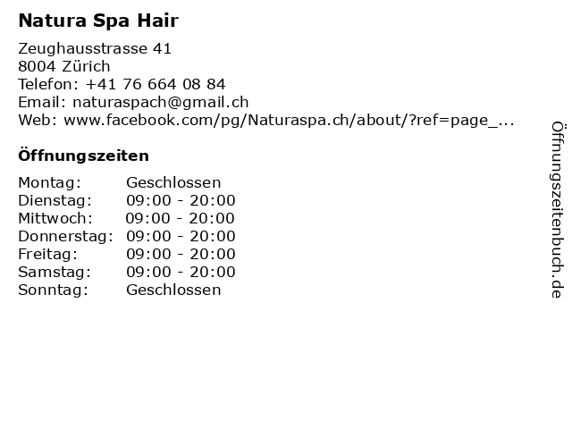Natura Spa Hair in Zürich: Adresse und Öffnungszeiten