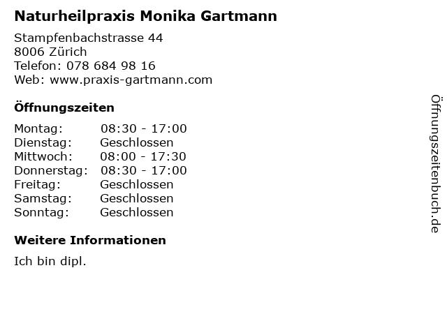 Naturheilpraxis Monika Gartmann in Zürich: Adresse und Öffnungszeiten