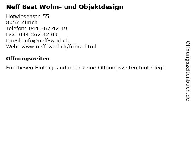 Neff Beat Wohn- und Objektdesign in Zürich: Adresse und Öffnungszeiten