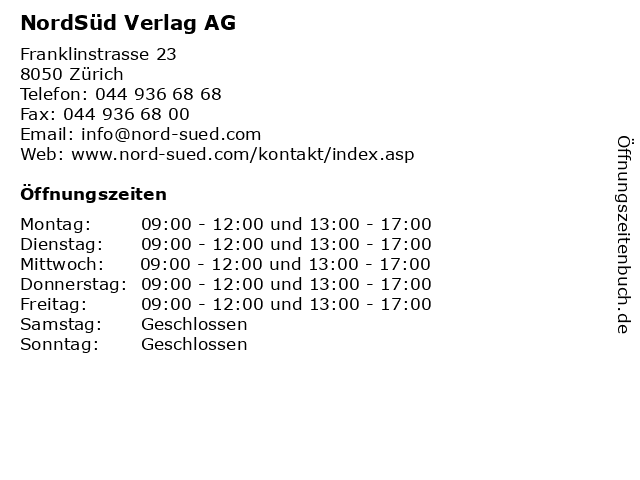 NordSüd Verlag AG in Zürich: Adresse und Öffnungszeiten