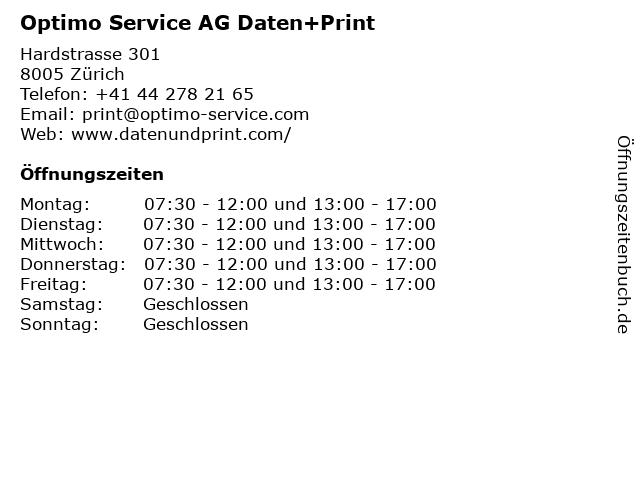 Optimo Service AG Daten+Print in Zürich: Adresse und Öffnungszeiten