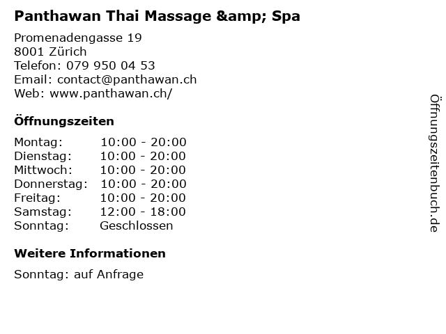 Panthawan Thai Massage & Spa in Zürich: Adresse und Öffnungszeiten