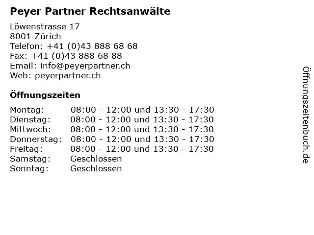 Peyer Partner Rechtsanwälte in Zürich: Adresse und Öffnungszeiten