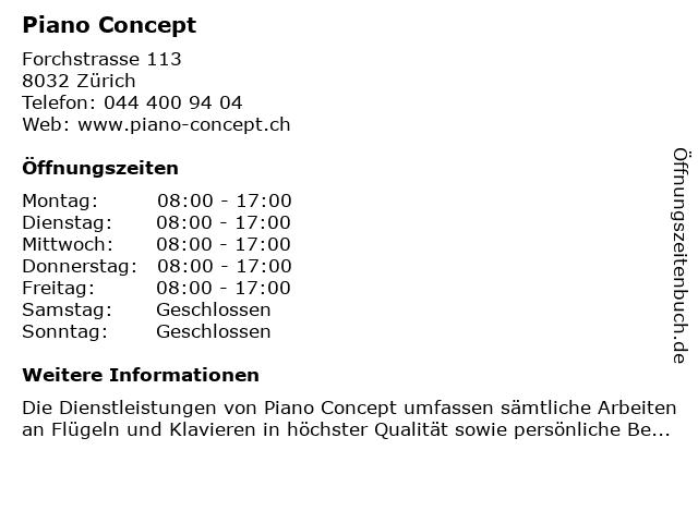 Piano Concept in Zürich: Adresse und Öffnungszeiten