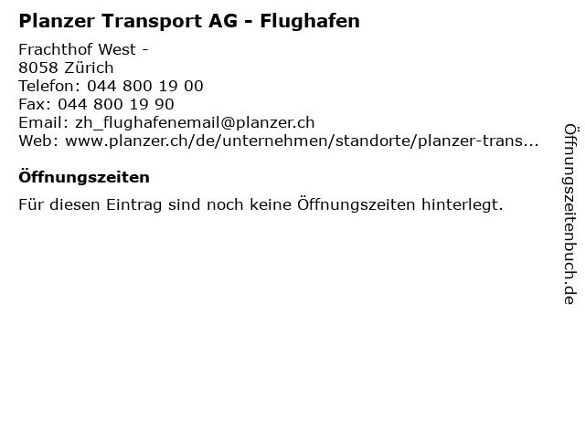 Planzer Transport AG - Flughafen in Zürich: Adresse und Öffnungszeiten