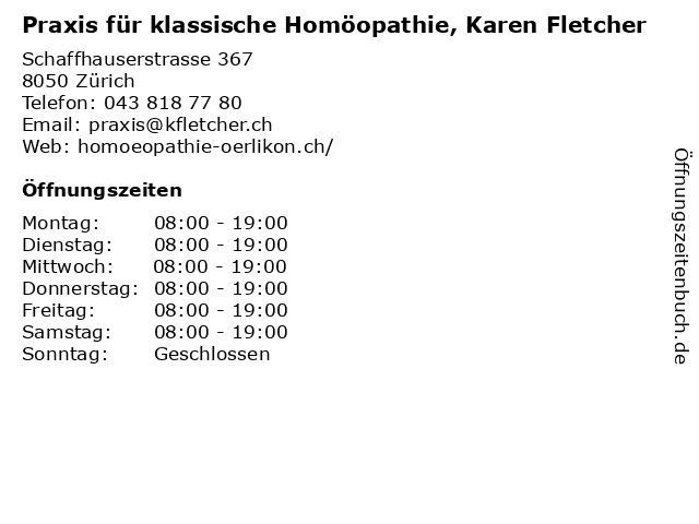 Praxis für klassische Homöopathie, Karen Fletcher in Zürich: Adresse und Öffnungszeiten