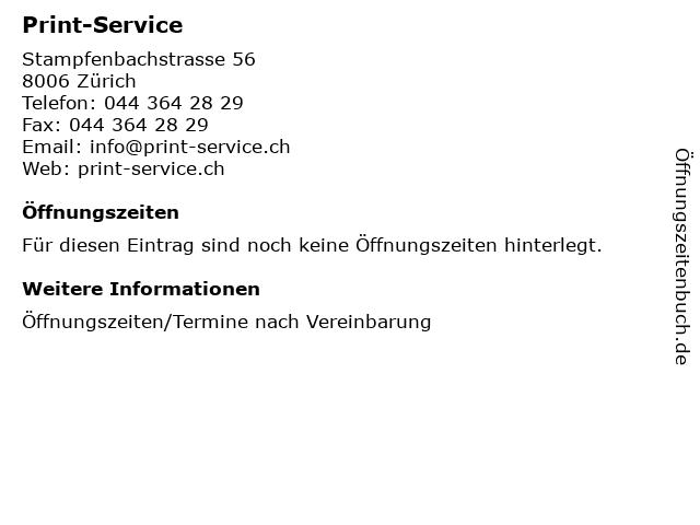 Print-Service in Zürich: Adresse und Öffnungszeiten