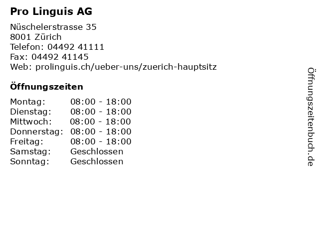 Pro Linguis AG in Zürich: Adresse und Öffnungszeiten
