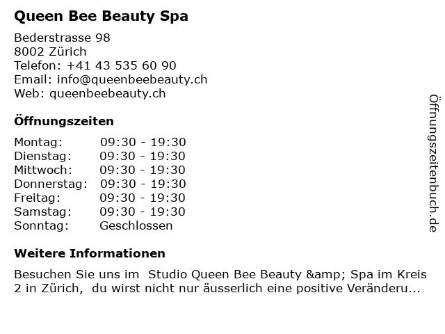 Queen Bee Beauty Spa in Zürich: Adresse und Öffnungszeiten