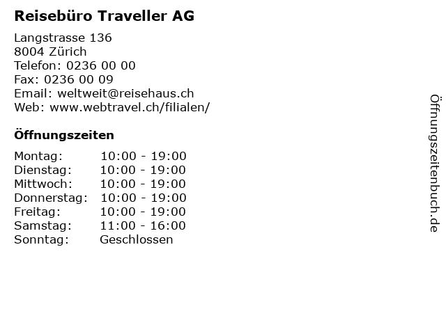 Reisebüro Traveller AG in Zürich: Adresse und Öffnungszeiten