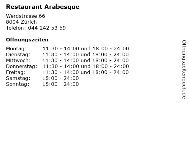 Restaurant Arabesque in Zürich: Adresse und Öffnungszeiten