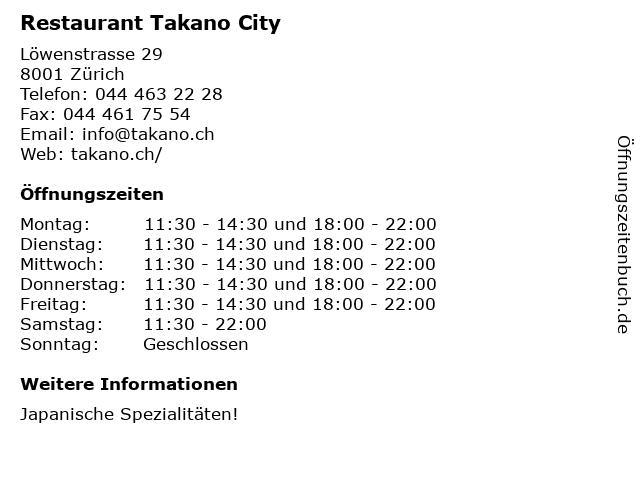 Restaurant Takano City in Zürich: Adresse und Öffnungszeiten