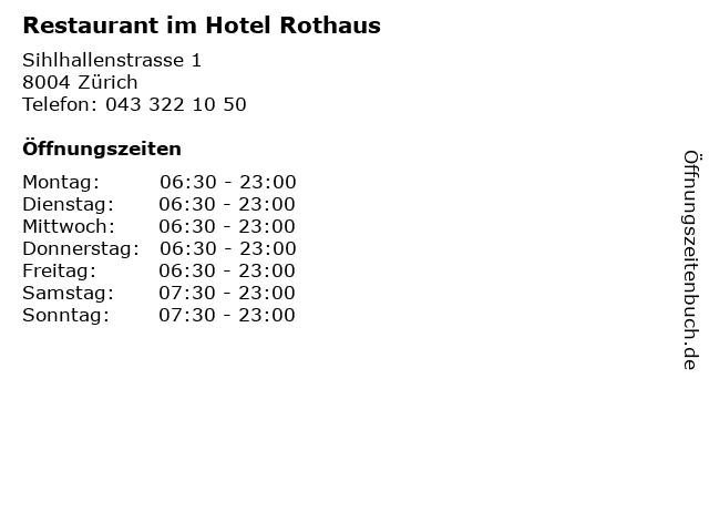 Restaurant im Hotel Rothaus in Zürich: Adresse und Öffnungszeiten