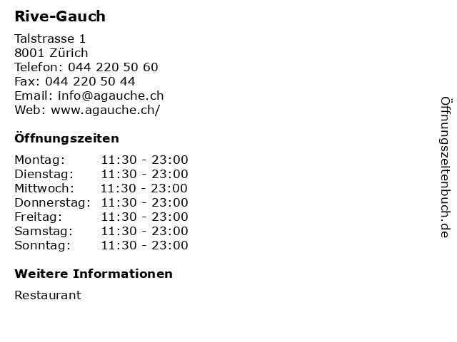 Rive-Gauch in Zürich: Adresse und Öffnungszeiten