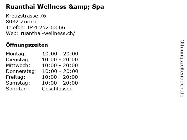 Ruanthai Wellness & Spa in Zürich: Adresse und Öffnungszeiten