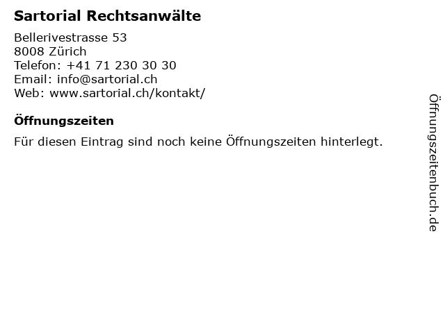 Sartorial Rechtsanwälte in Zürich: Adresse und Öffnungszeiten