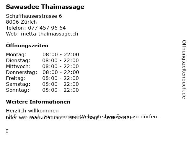 Sawasdee Thaimassage in Zürich: Adresse und Öffnungszeiten