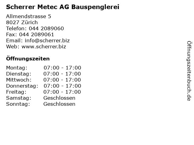 Scherrer Metec AG Bauspenglerei in Zürich: Adresse und Öffnungszeiten