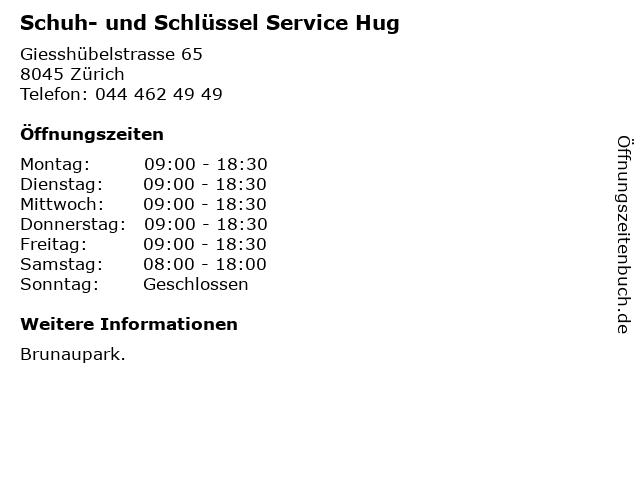 Schuh- und Schlüssel Service Hug in Zürich: Adresse und Öffnungszeiten