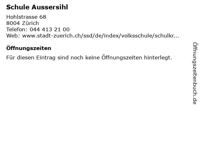 Schule Aussersihl in Zürich: Adresse und Öffnungszeiten