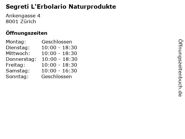 Segreti L'Erbolario Naturprodukte in Zürich: Adresse und Öffnungszeiten