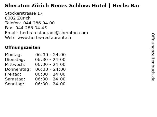 Sheraton Zürich Neues Schloss Hotel | Herbs Bar in Zürich: Adresse und Öffnungszeiten