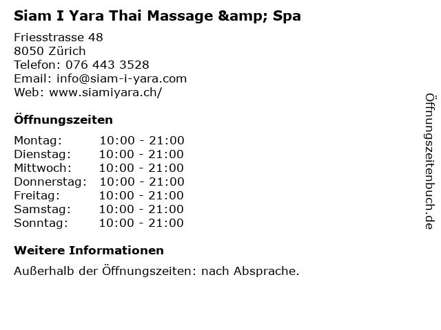 Siam I Yara Thai Massage & Spa in Zürich: Adresse und Öffnungszeiten