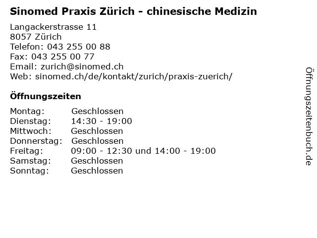 Sinomed Praxis Zürich - chinesische Medizin in Zürich: Adresse und Öffnungszeiten
